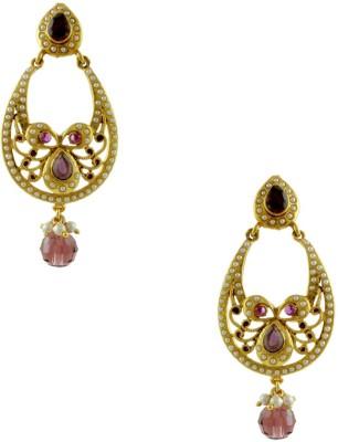 Orniza Rajwadi Earrings in Purple Color and Golden Polish Brass Chandbali Earring