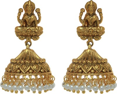 Gliteri Laxmiji with hanging beads golden Copper Jhumki Earring