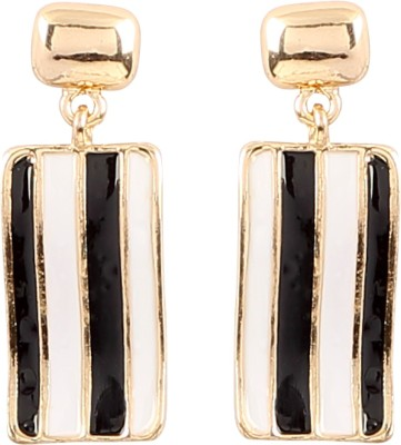 Jewel Funk Rectangular Black and White Alloy Drop Earring