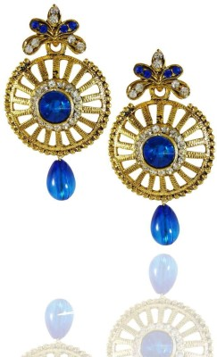 AsiaCraft Blue Stones Gold Plated Metal Drop Earring