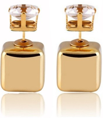 Cilver Fashion Trendy double faced square Alloy, Crystal Plug Earring