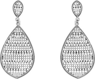 Donna White Leaf Crystal Metal Drop Earring