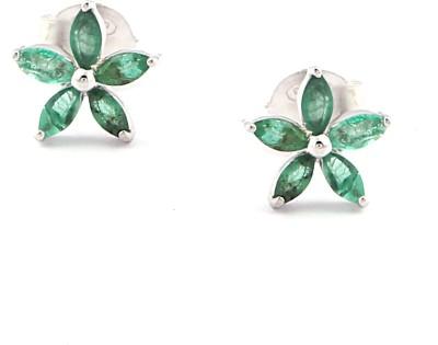 RR FOREVER Gemstone Emerald Silver Stud Earring