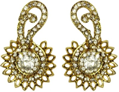 AsiaCraft gold plated white stone Metal Stud Earring
