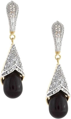 Amroha Crafts AD Black Alloy Drop Earring