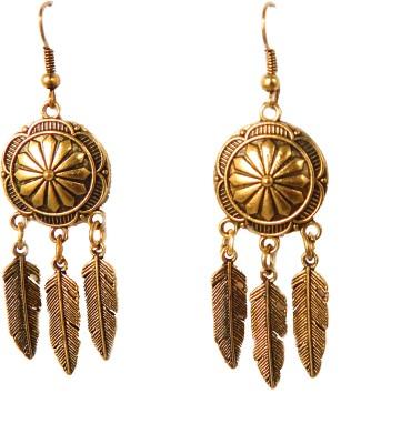 My Hut Ethnic Golden Color Metal Dangle Earring