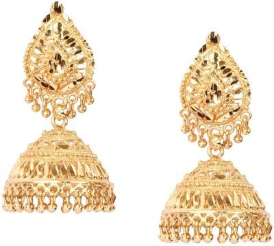 Giftmania Golden Paan Sparkle Brass Jhumki Earring