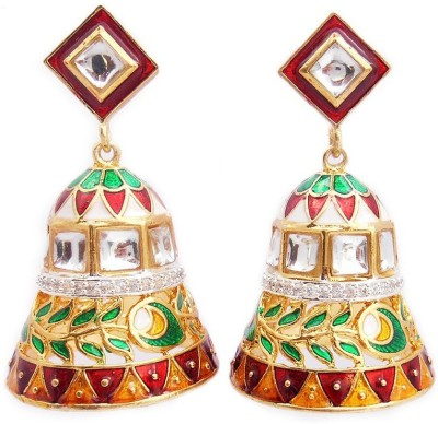 MK Jewellers BEAUTIFUL AD CUM MEENA KUNDAN EARINGS Brass Dangle Earring