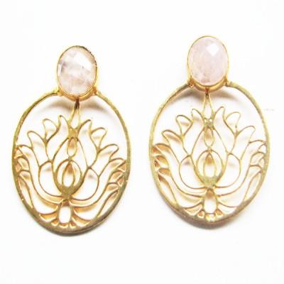 Bhrti semi precious Gold plated Quartz Brass Stud Earring