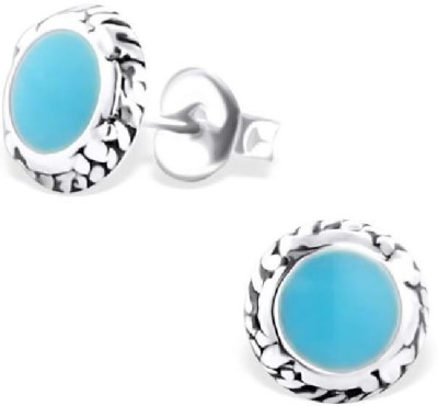 Maayin Round Plain - Blue Sterling Silver Stud Earring