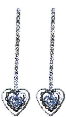 000 Fashions Silver Love shaped crystal Alloy Drop Earring