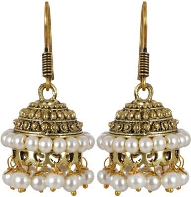 AGRIM Ethnic Jhumki with White Beads Brass Jhumki Earring
