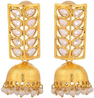 JFL - Jewellery for Less ER-9000106-37-DV Cubic Zirconia Copper Jhumki Earring