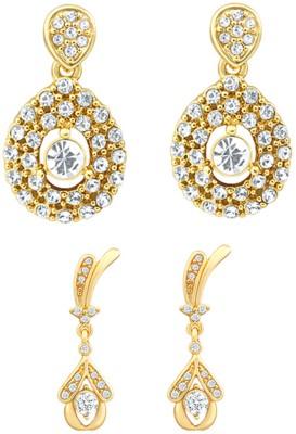 Oviya Crystal Brass, Alloy Earring Set