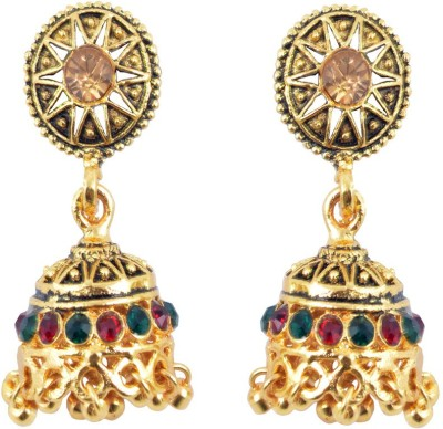 Diovanni Champagne Wine My Party Divine Metal Jhumki Earring