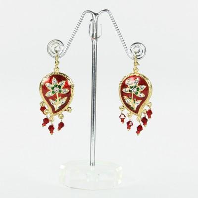 Artisan Red Leaf Enamel Floral Earrings Metal Drop Earring