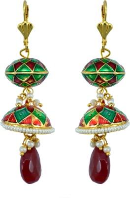 Suvini Ethnic Dome Shape with Beautiful Meenakari Work Alloy Jhumki Earring