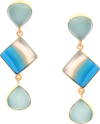 Orolush Flawless Blue Designer Calcy stone Copper Drop Earring