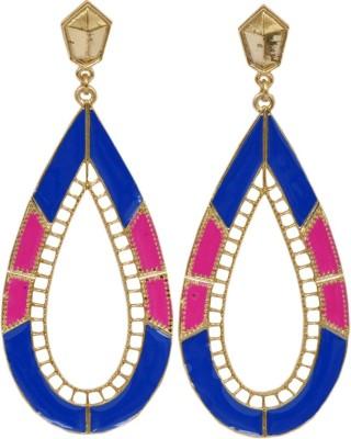 WoW Blue & Pink Pear Shape Alloy Drop Earring