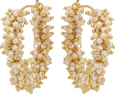 Adwitiya Collection Spring Sparkle Pearl Copper Hoop Earring