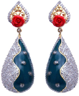 YUVEN Multicolor Zircon Brass, Alloy Drop Earring