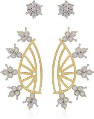 Jewels Galaxy 2 in 1 Interchangeable American Diamond 1139 Alloy Cuff Earring