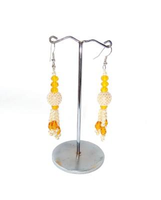shalini jewlles colour full Beads, Pearl Metal Dangle Earring