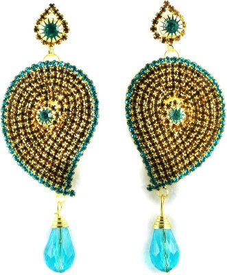My Sara Multi Color Earing For Girls For Festive Use Cubic Zirconia Copper, Brass Drop Earring