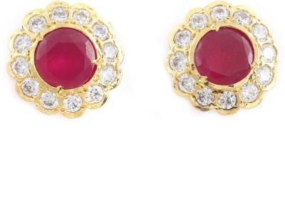 Sree Collection Sree Zircon, Ruby Metal Stud Earring