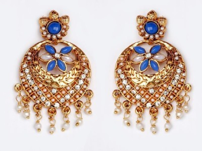 ACW Blue and White Stones Chand Bali with Pearl Metal Chandbali Earring