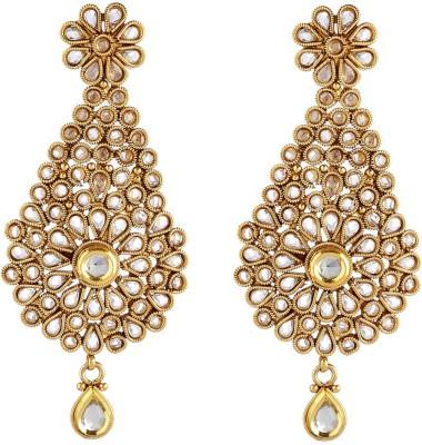 NEnterprises Gold Plated Polki-Oval Metal Dangle Earring