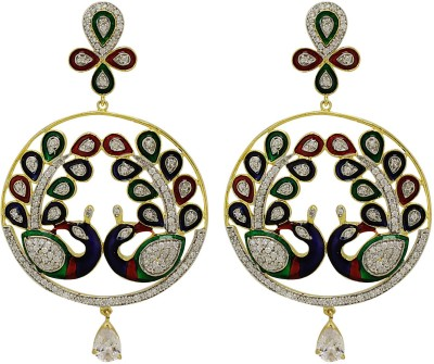 Moda Stella American Diamond Gold Plated White, Red, Green & Blue Brass Chandbali Earring
