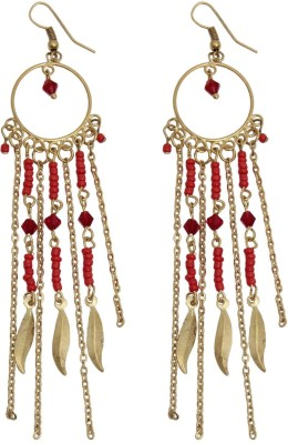 Swan Jewels Statement Dangler in Red and Gold Metal Dangle Earring