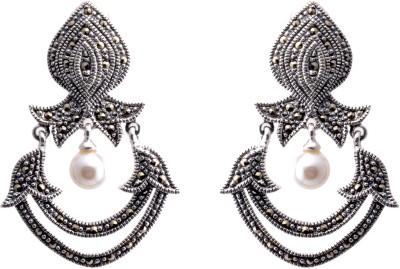 Aashirwad Moti Markasite Sterling Silver Drop Earring