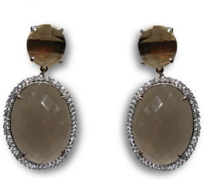 Rajgharana Smoky Oval Cubic Zirconia Alloy Drop Earring
