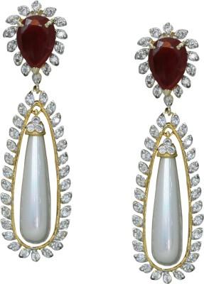 KadaPatla SPARKLING STERLING SILVER EARRIMG Ruby Brass Huggie Earring