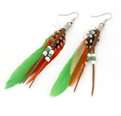 Jewel Touch Mysterious Feather Decorated With Bead Charm Feather Alloy, Fabric Dangle Earring