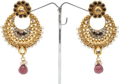 Kashvi Spring Sparkle Pearl, Zircon, Quartz Brass Chandbali Earring