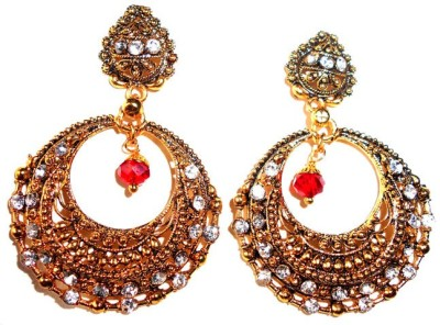 Achal spring sparkle Crystal Metal Chandbali Earring