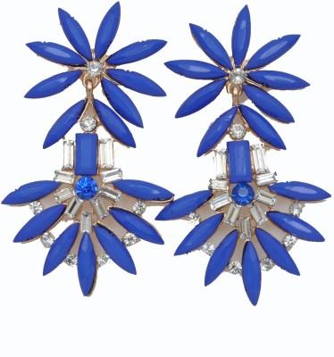WoW Blue Resin & Crystal Alloy Drop Earring