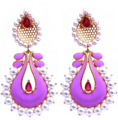 YUVEN Purple Enamel & Pearls Bits Zircon Brass Chandbali Earring