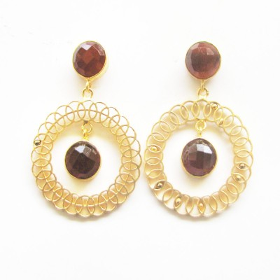 Gharaz semi precious Gold plated Agate Brass Dangle Earring
