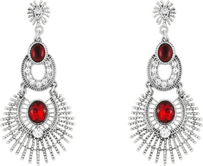 Donna Red Twin Circles Crystal Metal Drop Earring