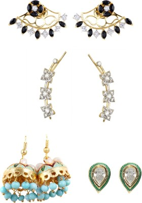99HomeMart Color Combo Cubic Zirconia Metal Earring Set