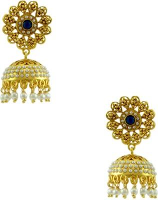 Orniza Rajwadi Earrings in Blue Color and Golden Polish Brass Jhumki Earring