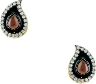 Orniza Victorian Earrings in Purple Color and Black Gold Polish Brass Stud Earring