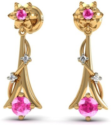 R S Jewels Creative Designs Yellow Gold 18kt Diamond, Tourmaline Drop Earring