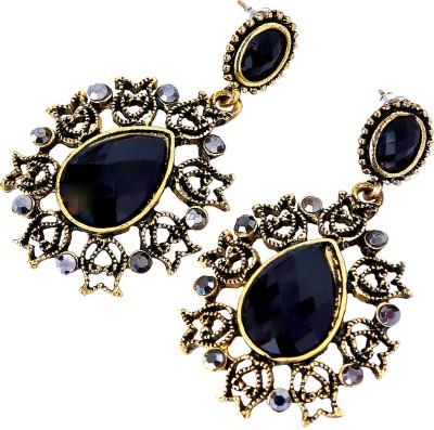 Artisan Saga Black Stone Alloy, Stone Drop Earring