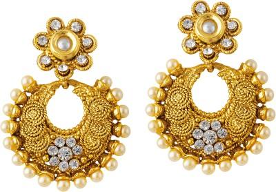 TAKSPIN Jhumki Hoop Adorned With Pearl Beads Pearl Alloy Chandbali Earring