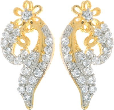 Gliteri golden american diamond light Brass Drop Earring